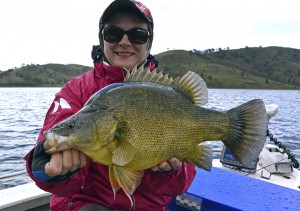 Jo Starling with one of the hefty Windamere golden perch that clinched her the champion angler title in round one and helped elevate Starlo's Squidgies to a lead that ultimately proved to be unassailable.