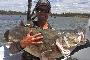 Scott Hartley broke all previous Freshwater Masters records by catching and releasing this massive 110 cm Murray cod on a Gangster Lures Mother Frogger spinnerbait during the Mulwala round of the event.