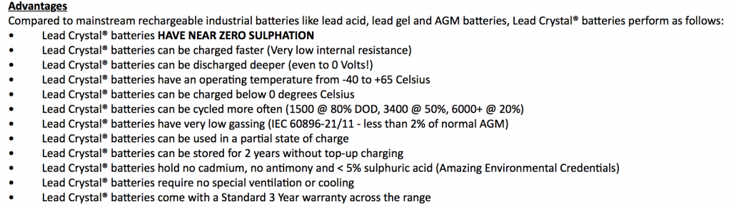 Just some of the advantages of Lead Crystal batteries!