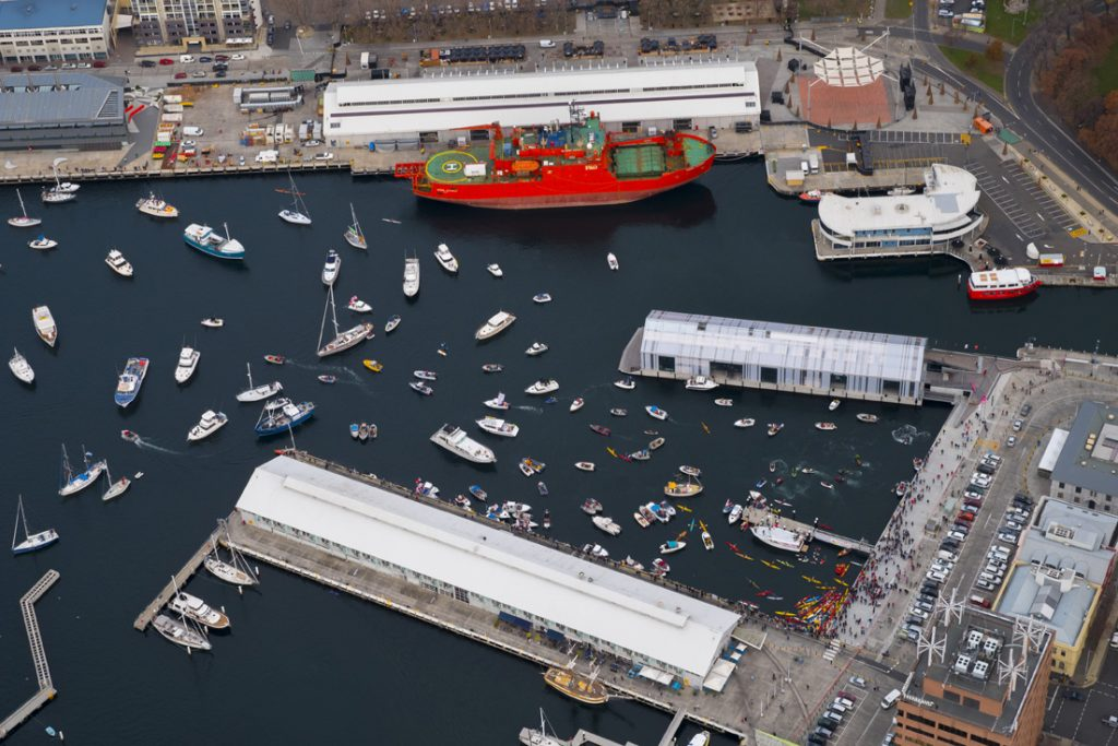The harbour fills with the colourful FloatMo fleet.